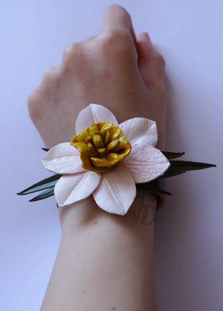 Браслет №105 - Нарцисс - кожа