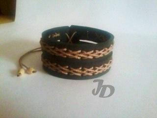 Кожаный браслет №82 - кожа, декоративный шнур