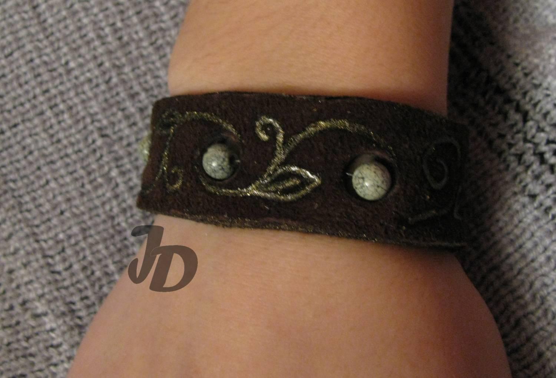 Кожаный браслет №43 - замша, змеевик