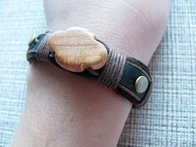 №30 - кожа, дерево, шнур, металл, браслет, хэнд мэйд