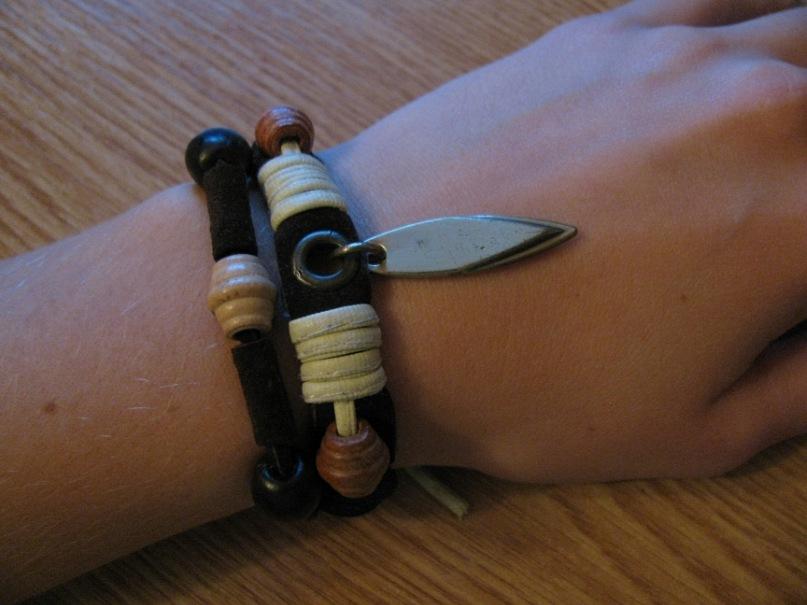 Браслет из кожи №26 - кожа, дерево, металл, декоративный шнур,браслет, хэнд мэйд