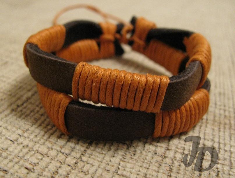 Кожаный браслет №39 - кожа, вощёный шнур