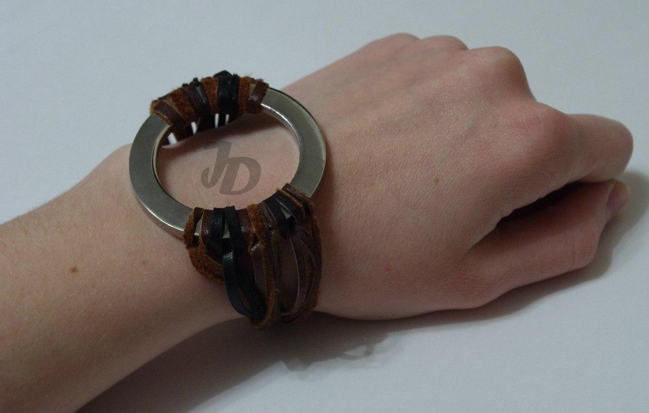 Кожаный браслет №91 - кожа, металл