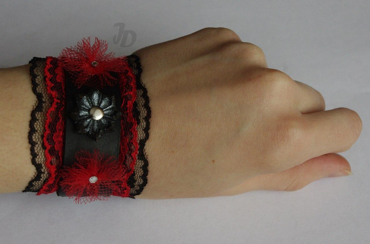 Кожаный браслет №95 - кожа, кружево, фатин