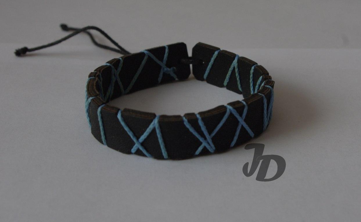 Кожаный браслет №76 - кожа, декоративный шнур
