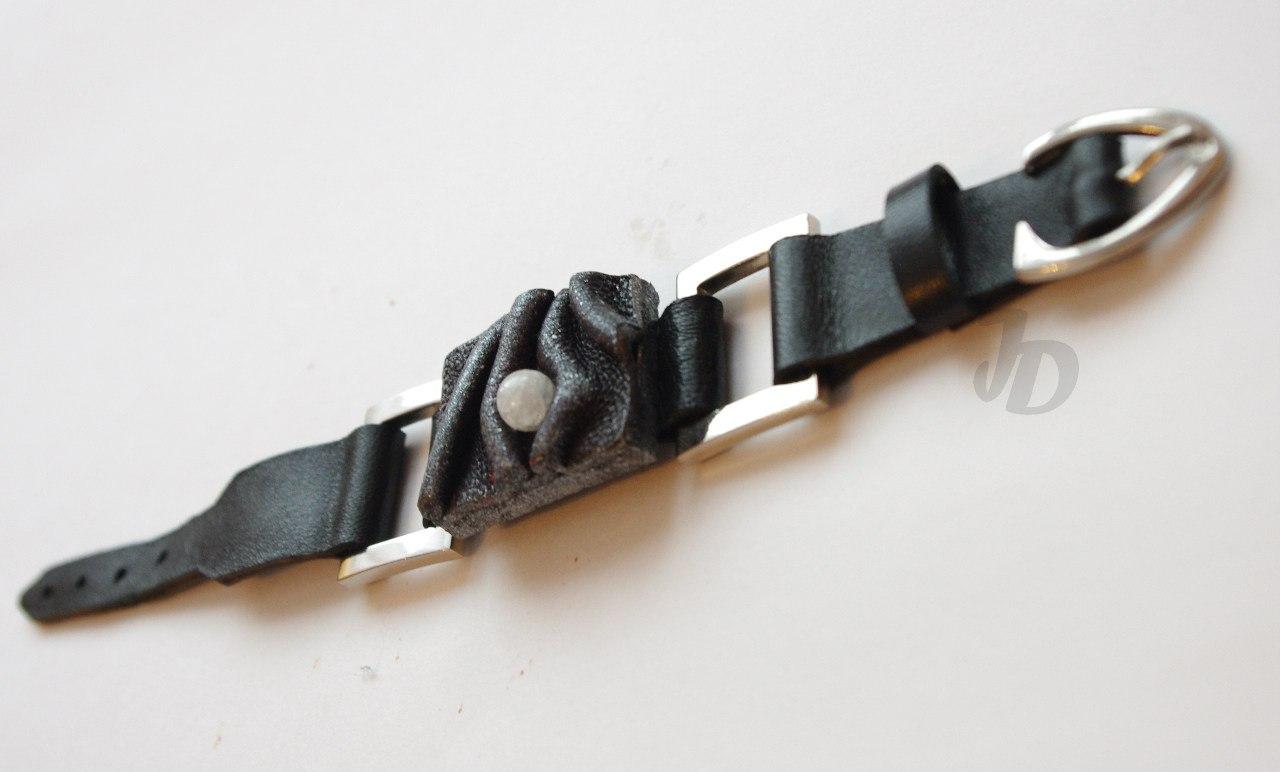 Кожаный браслет №88 - кожа, металл, горный хрусталь