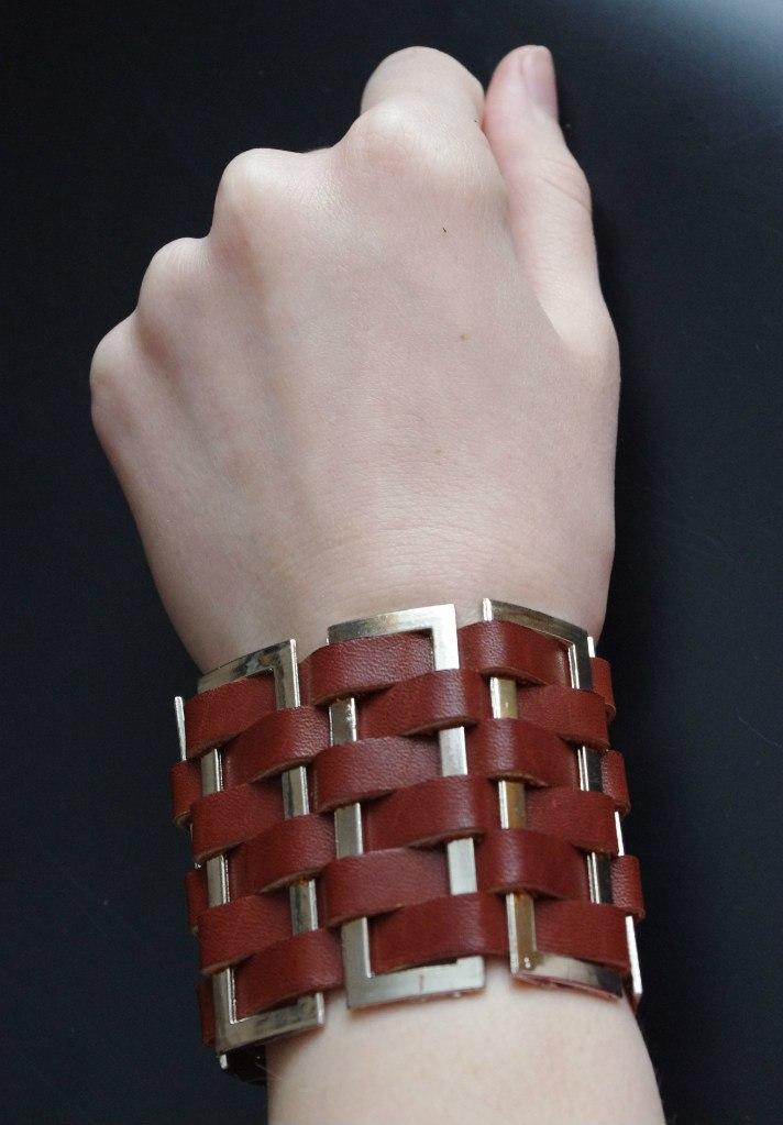 Кожаный браслет №96 - кожа, металл