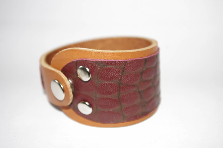 №112. Кожаный браслет с имитацией кожи рептилии