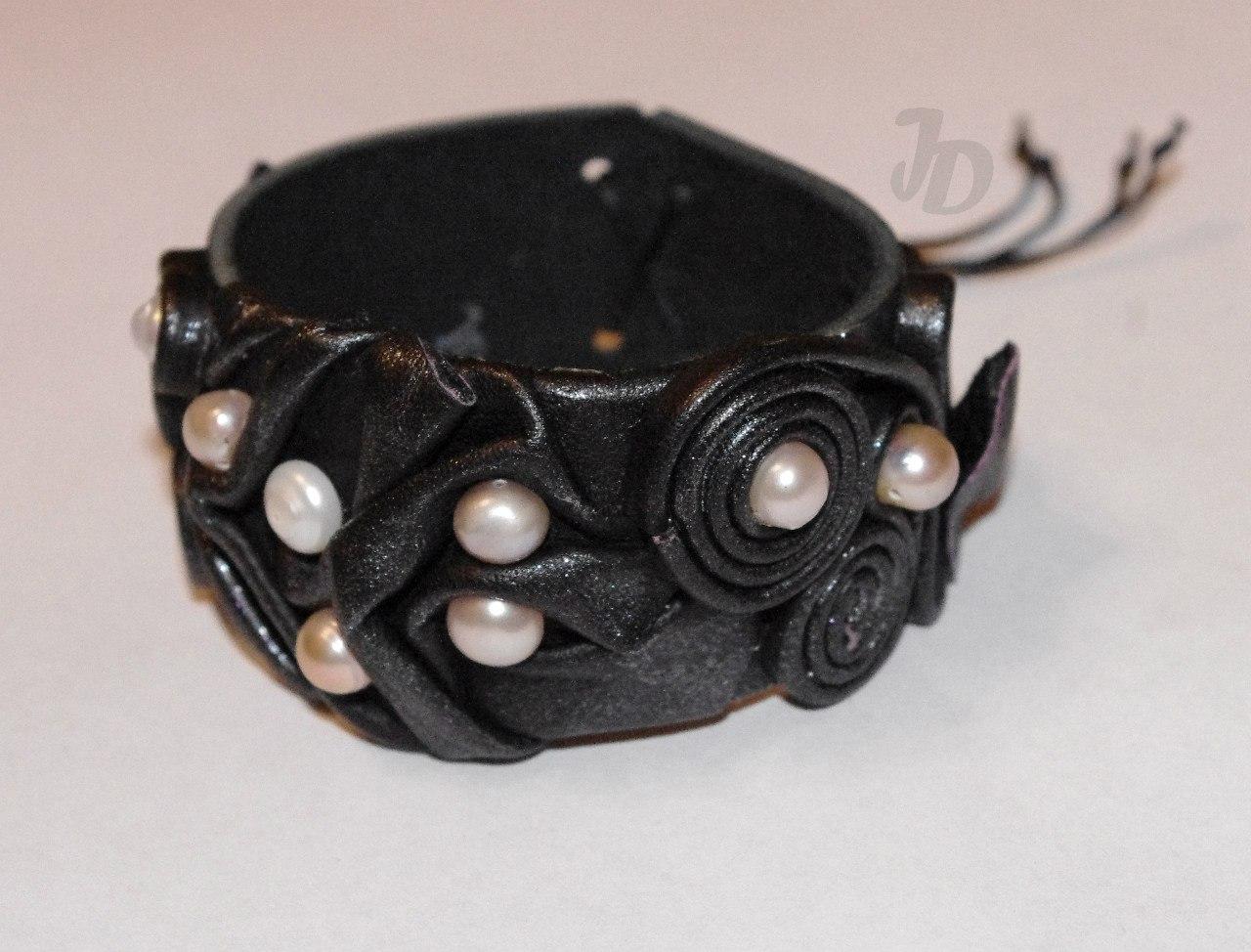 Кожаный браслет №93 - кожа, жемчуг