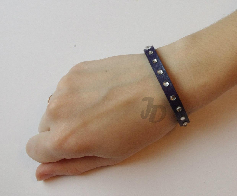 Кожаный браслет №90 - кожа, стразы