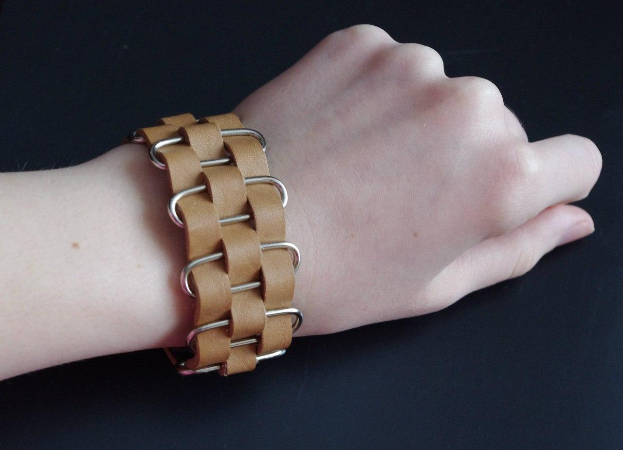 Кожаный браслет №97 - кожа, металл