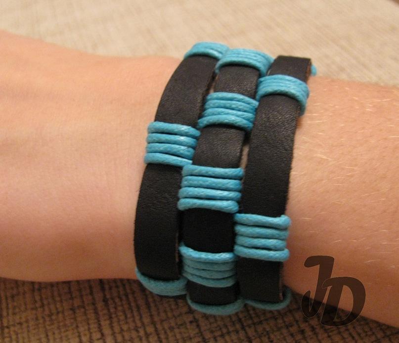 Кожаный браслет №38 - кожа, вощёный шнур