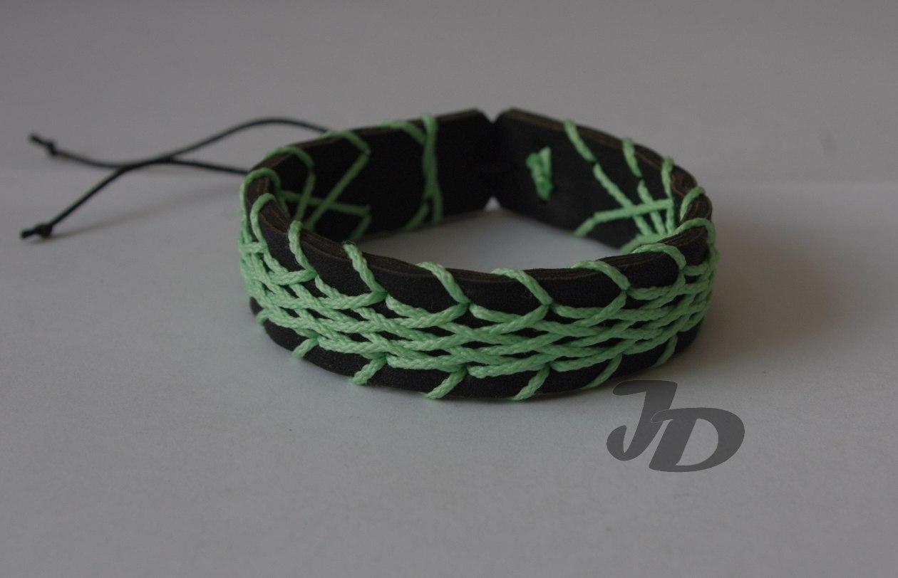 Кожаный браслет №79 - кожа, декоративный шнур